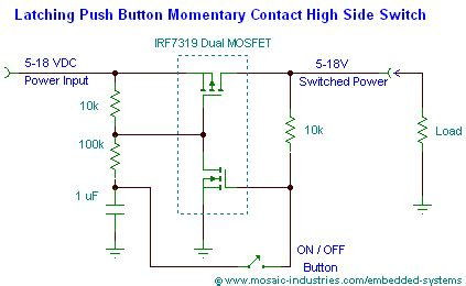 push button on soft latch circuits battery powered
