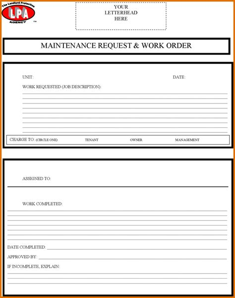 8 maintenance work order templatereference letters words