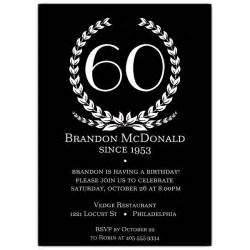 age in wreath black 60th birthday invitations paperstyle
