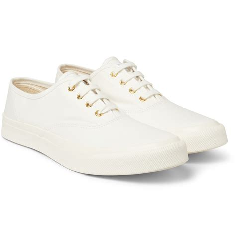 white sneakers for maison kitsun 233 rubbersoled canvas sneakers in white for