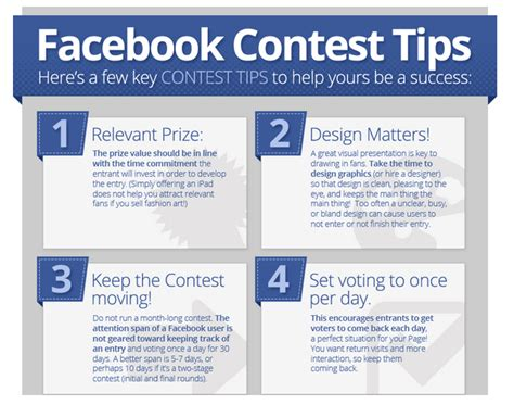 Facebook Free Giveaway Contests - facebook contest success tips infographic