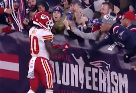 patriots fans patriots permanently ban fan who threw at tyreek hill