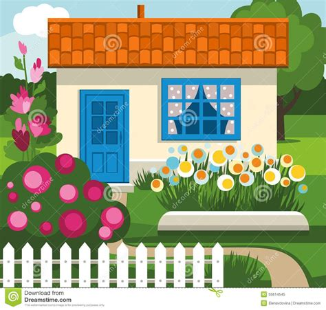 4 Bed House Plans by Summer House Garden Flowers Lawn Stock Vector