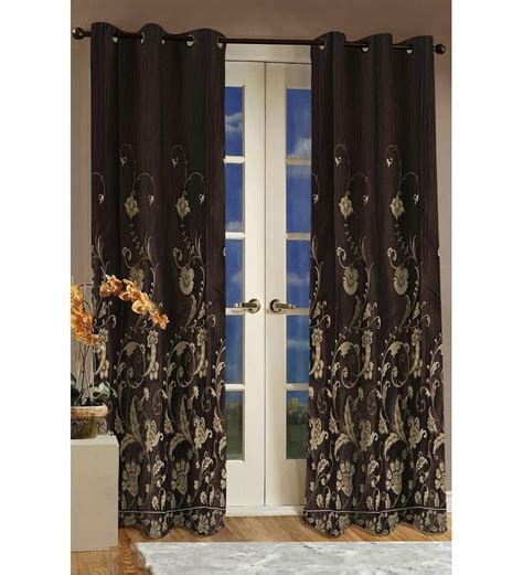 brown door curtain dreamscape brown floral door curtain by dreamscape online