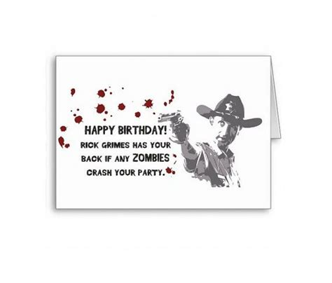 printable zombie birthday cards the walking dead rick grimes birthday card zombie party
