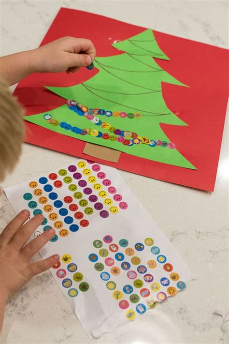 two year olds christmas crafts sticker tree craft for on as we grow