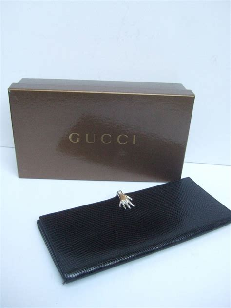 Bag Gucci Box Mini Wallet Black gucci sterling clasp embossed black leather wallet in gucci box at 1stdibs