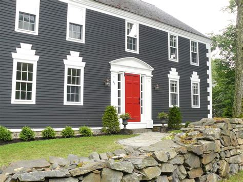 houses painted gray grey house with black shutters and red door jpg