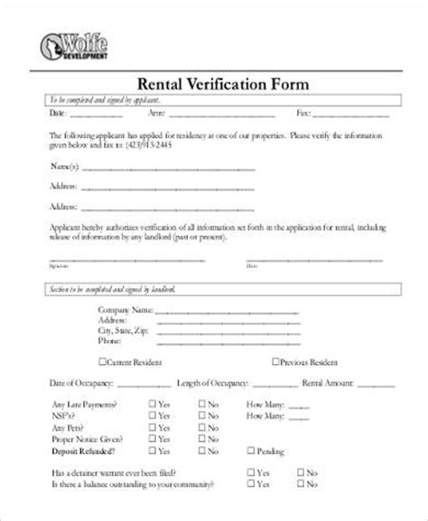 rental verification form sles 9 free documents in