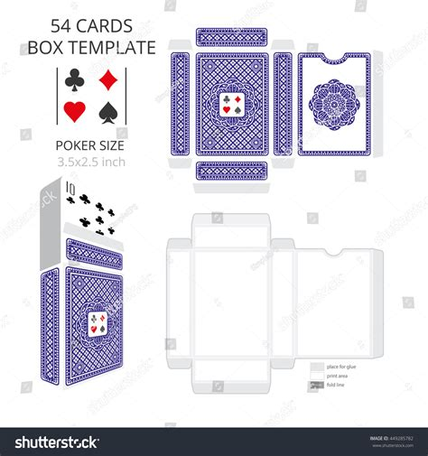 Poker Card Size Tuck Box Templatevector Stock Vector 449285782 Shutterstock Template Size