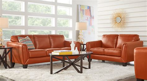orange sofas living room orange leather sofa and loveseat ae209 org iv modern 2pcs