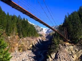 swinging bridge cground ny the tahoma creek suspension bridge in washington