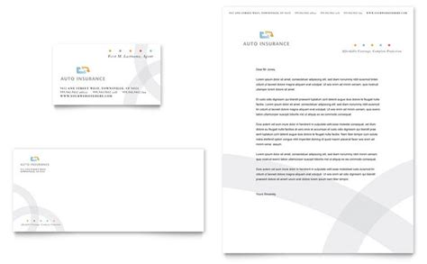 car insurance company business card letterhead template