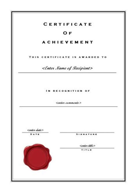 formal certificate template certificate of achievement 102