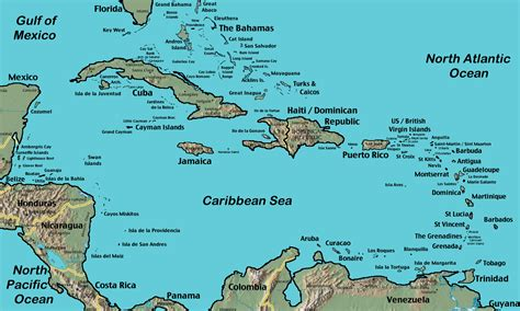 map of the caribbean islands caribbean maps caribbean cruise org