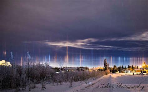 light pillars apod 2016 february 8 light pillars over alaska