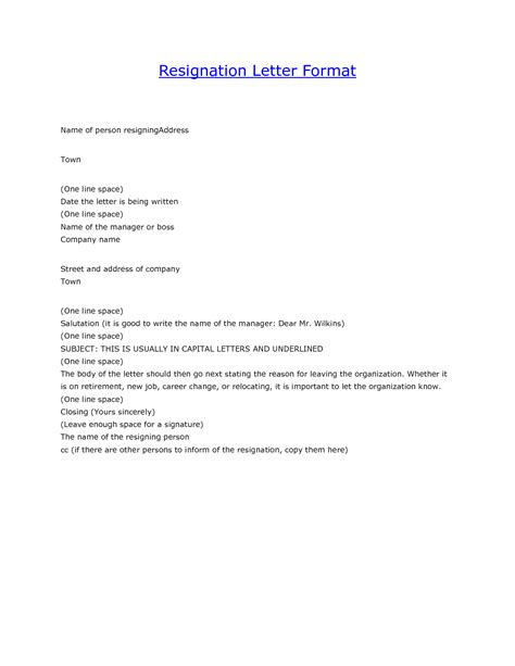 Resignation Letter Format For A Layout Of Resignation Letter Resume Layout 2017