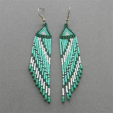 Bead Dangle Earrings turquoise seed bead earrings fringe dangle earrings