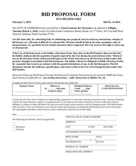 9 Bid Proposal Form Sles Free Sle Exle Format Download Subcontractor Invitation To Bid Template