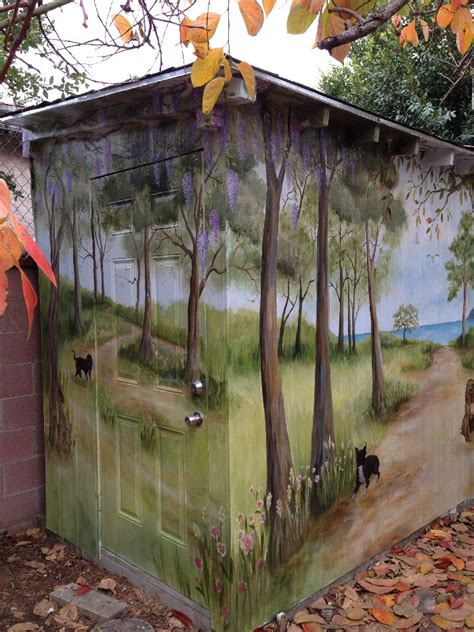 outdoor shed  tree grove  view   sea mural