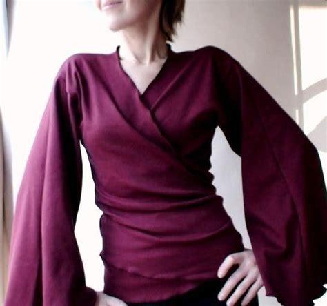 Sy Vita Kimono organic cotton wrap with flare sleeves kimono style shirt