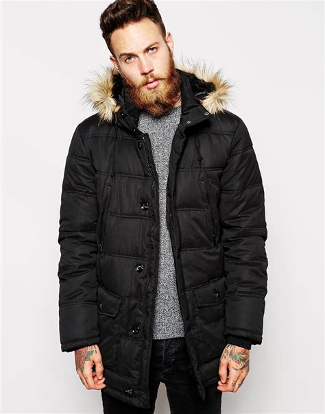 Mens Quilted Parka asos quilted parka jacket in black for lyst