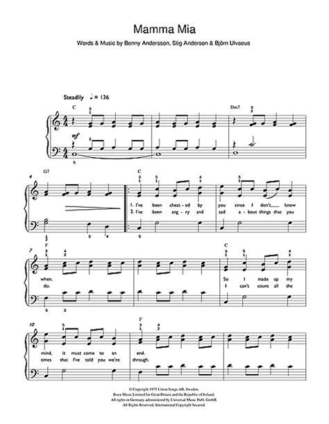 tutorial piano mamma mia abba mamma mia sheet music