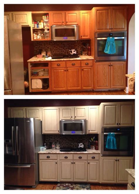 Finishes For Kitchen Cabinets Cabinet Refinish Using General Finishes Linen Milk Paint And Brown Glaze With A Satin