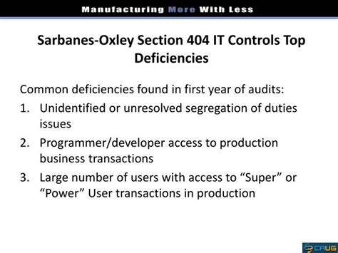 Section 404 Sarbanes Oxley by Ppt Ifrs Sox Powerpoint Presentation Id 1684147