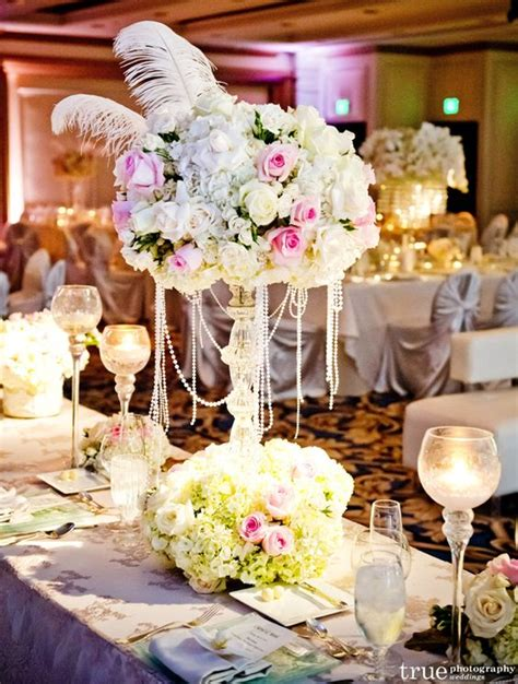 wedding centerpieces with pearls feather centerpieces glamorous vintage wedding centerpiece with pearls and feathers one day