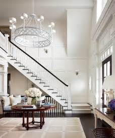 Chandelier For Tall Ceilings Floor To Ceiling Wainscoting Transitional Entrance