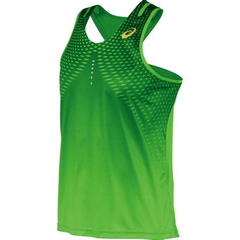 Asics Running Green Shirt Original asics speed singlet mens running top green gecko