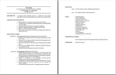 Event Planner Resume With No Experience by Event Coordinator Resume Sle Resume Template Fkppgmib