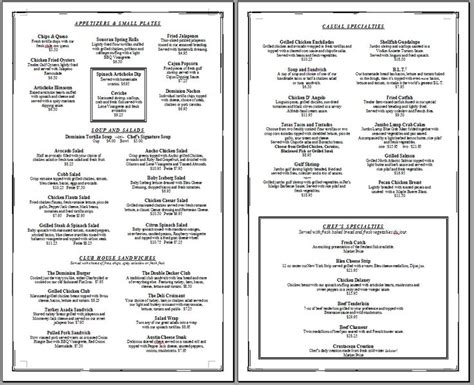 Free Printable Restaurant Menu Template free printable template restaurant menus simple menu