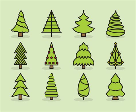 cute christmas tree icons vector art graphics