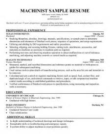 Machinist Resume Exles by Cover Letter Instrumentation