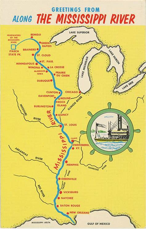 united states map showing mississippi river mississippi river from bemidji to new orleans state map