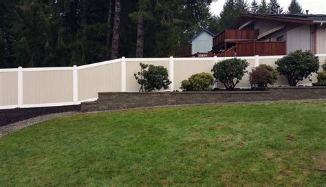Garden Wall Fencing Tiered Retaining Wall With Vinyl Fencing In West Olympia