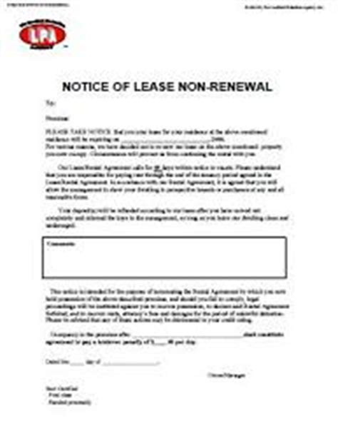 End Of Lease Non Renewal Letter Notice Of Lease Non Renewal