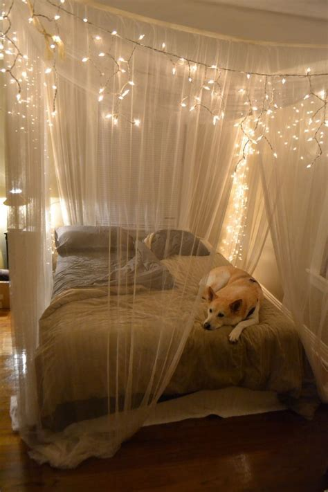 White String Lights For Bedroom Rustic Bedroom Design With Hanging White String
