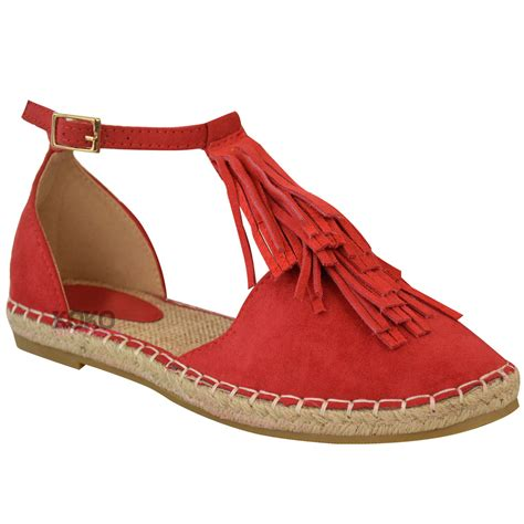 womens holidays new womens ladies flat tassel ankle strappy holiday summer