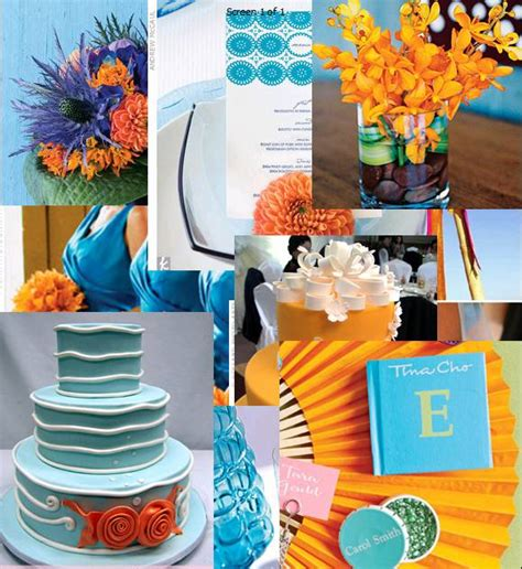 blue and orange decor gotcha covered orange weddings