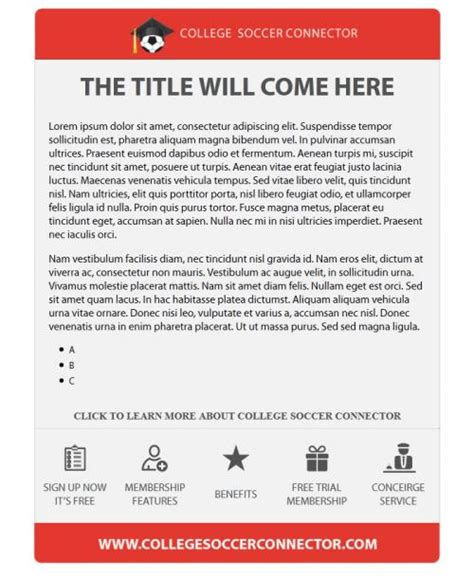 College Soccer Connector Microsites Email Templates Jbrownwebsites Com College Email Template