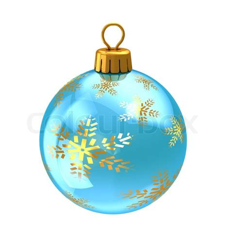 3d illustration of christmas ball light blue with golden