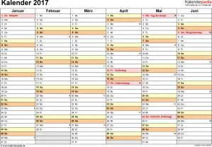 Kalender 2017 Halbjahreskalender Kalender 2017 Zum Ausdrucken In Excel 16 Vorlagen