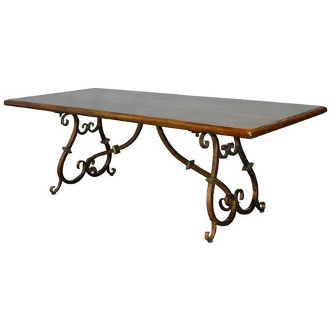 Wrought Iron Base Dining Table Colonial Trestle Table With Wrought Iron Scrolled Base At 1stdibs