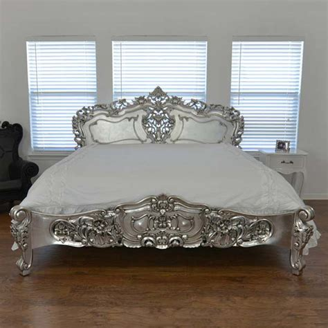 Bedroom Furniture Silver Rococco Bed Silver By Fabulous Baroque Fab