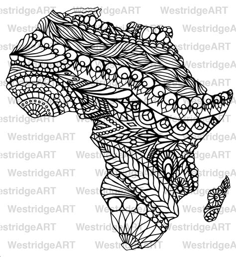 Mandala Doodle Colouring Page Map Of Africa Printable