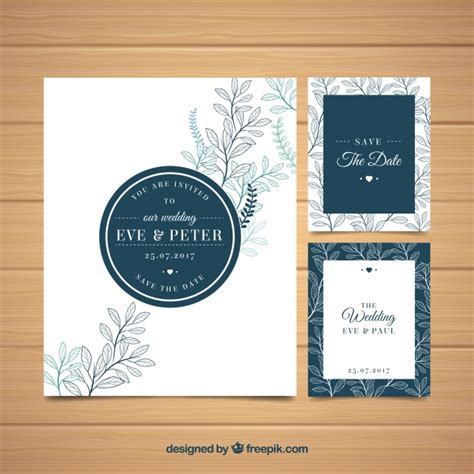 Wedding Invitation Freepik by Wedding Invitation With Leaves Sketches Vector