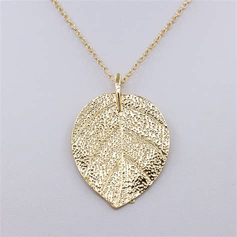 N07 Gold Pendant Necklace Leaf gold plated leaf necklace chain big statement pendant choker leaves charm